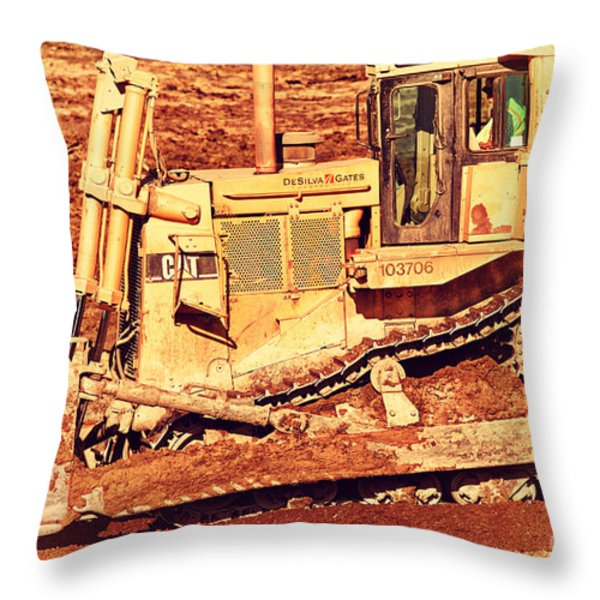 Cat Bulldozer . 7d10945 Throw Pillow by Wingsdomain Art and Photography