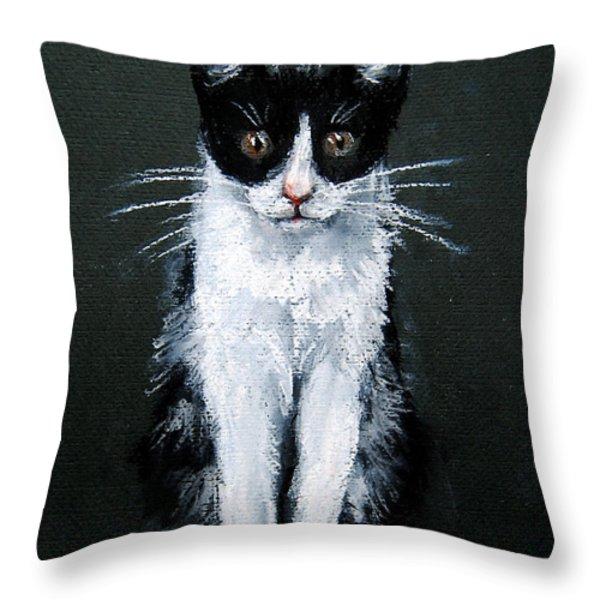 Cat I Throw Pillow by Mona Edulesco