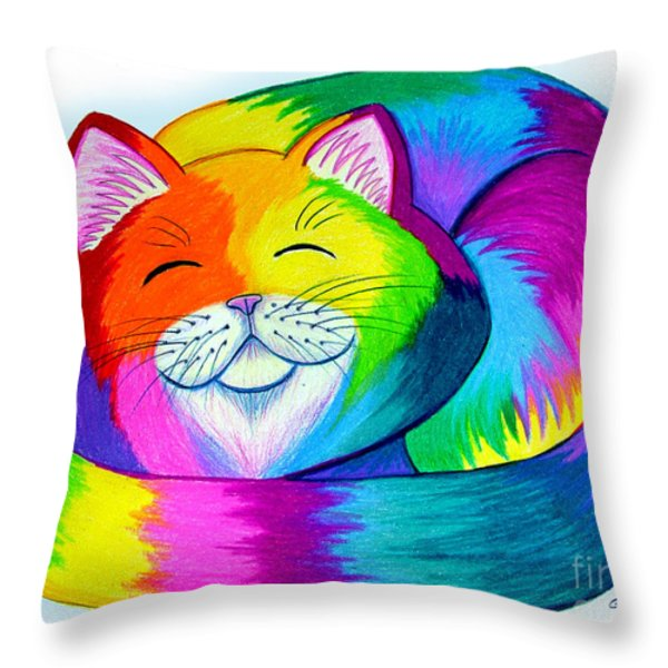 Cat Napping Throw Pillow by Nick Gustafson