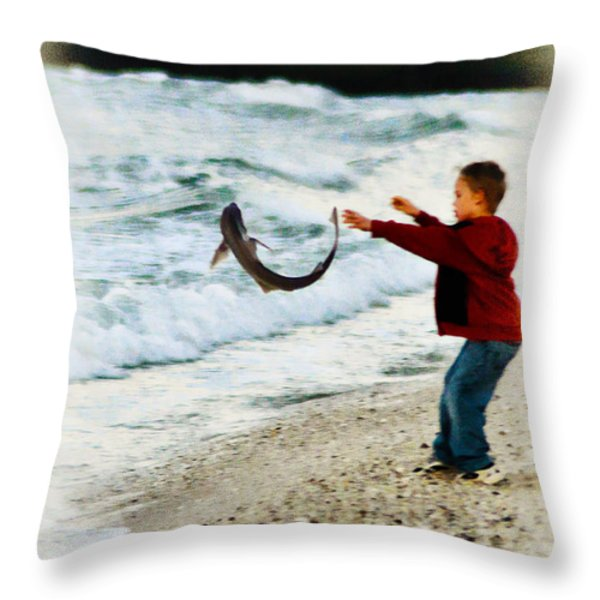 Catch and Release Throw Pillow by Bill Cannon