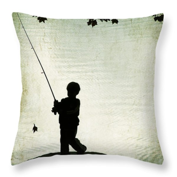 Catching Leaves Throw Pillow by Darren Fisher