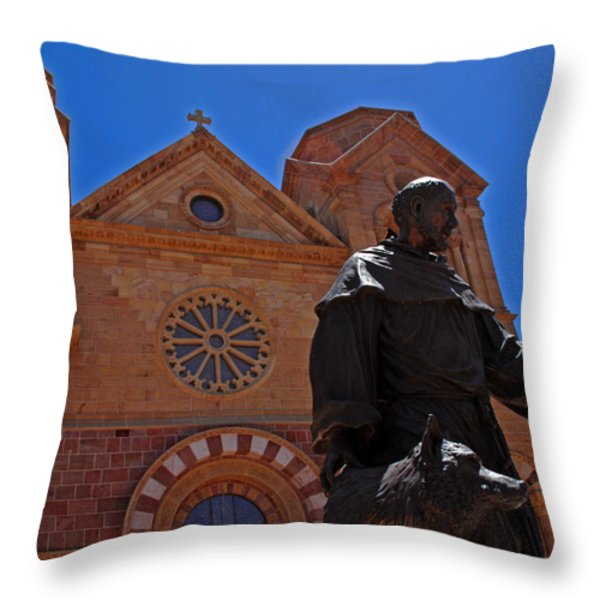 Cathedral Basilica in Santa Fe Throw Pillow by Susanne Van Hulst