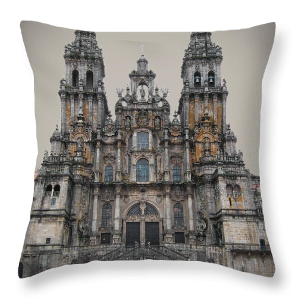 Cathedral of Santiago de Compostela Throw Pillow by Jasna Buncic