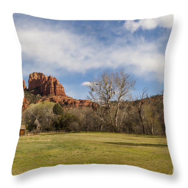 Cathedral Rock from the Park Throw Pillow by Darcy Michaelchuk