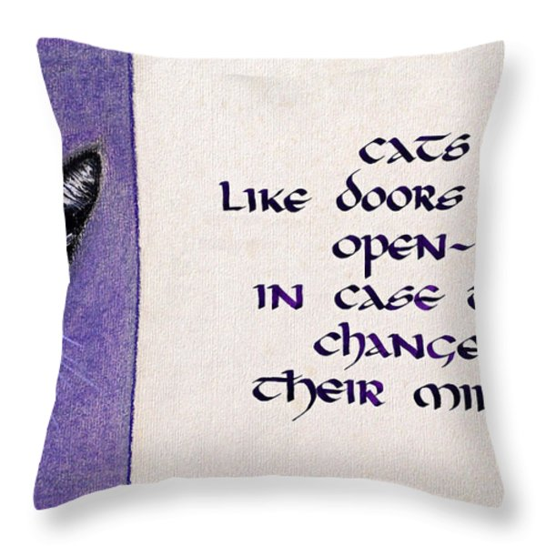 Cats and Doors Throw Pillow by Malc McHugh
