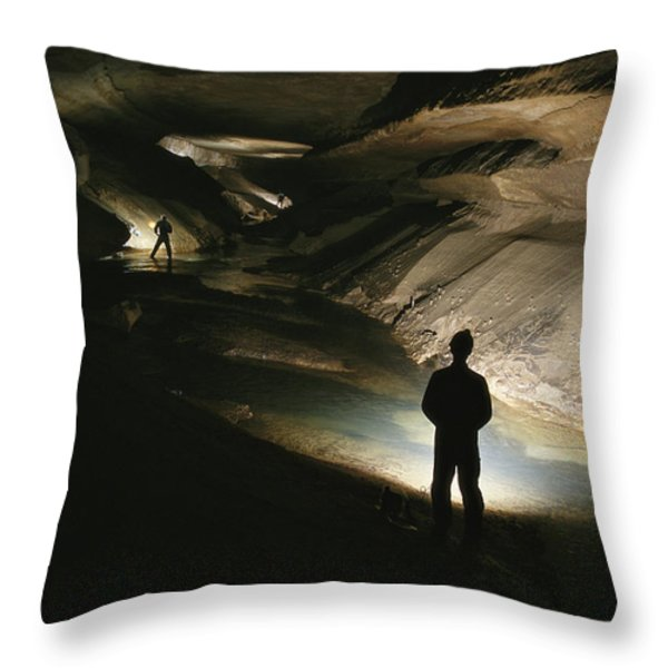 Cavers Stand In The New Discover Throw Pillow by Stephen Alvarez