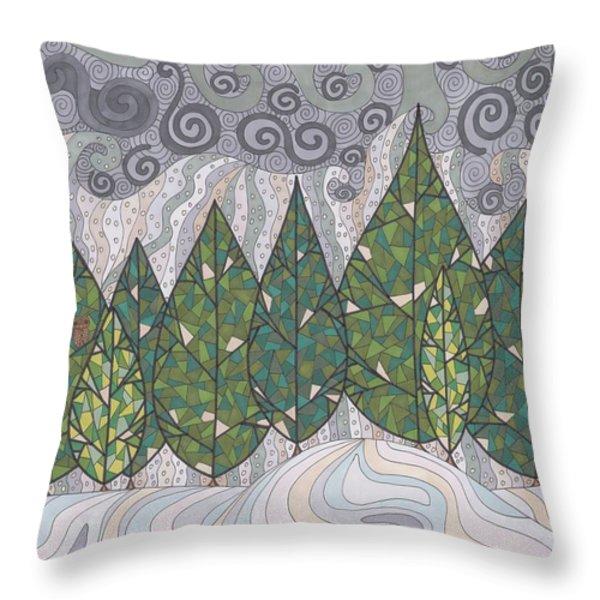 Cedar Grove Throw Pillow by Pamela Schiermeyer