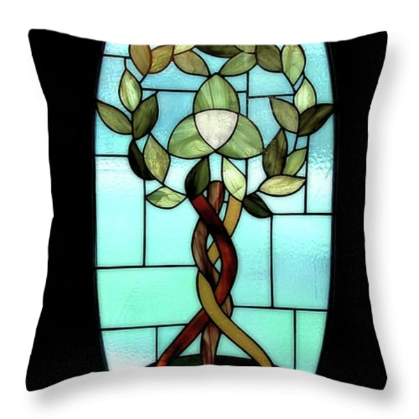Celtic Three Root Tree Throw Pillow by Laura Brightwood