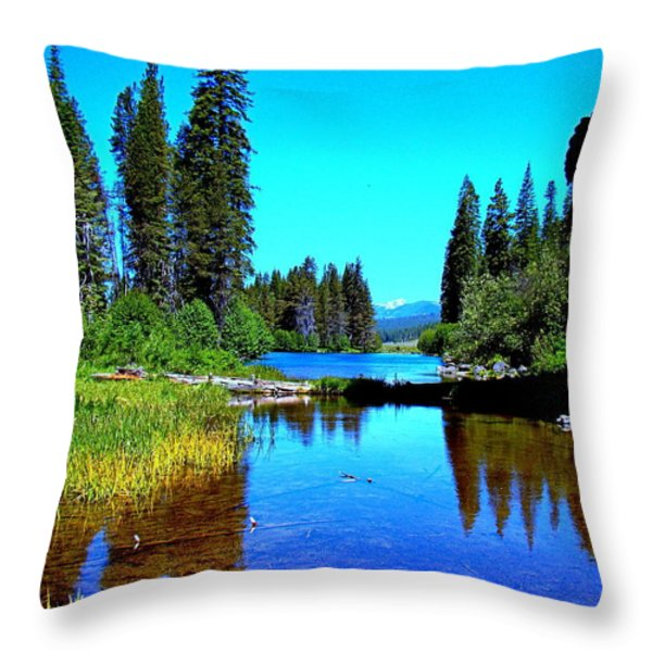 Central Oregon Tranquility Throw Pillow by Nick Kloepping