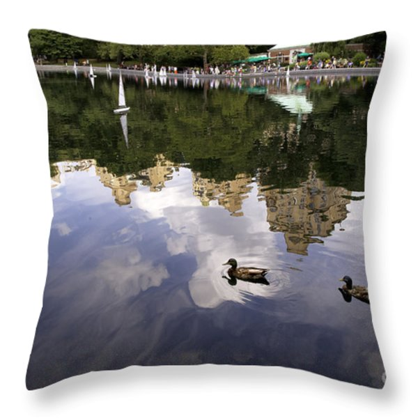 Central Park Pond with Two Ducks Throw Pillow by Madeline Ellis