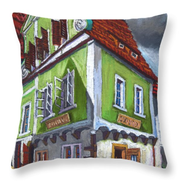 Cesky Krumlov Old Street 3 Throw Pillow by Yuriy  Shevchuk