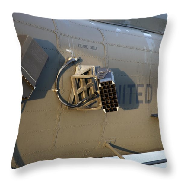 Chaff And Flare Dispensers On A U.s Throw Pillow by Timm Ziegenthaler