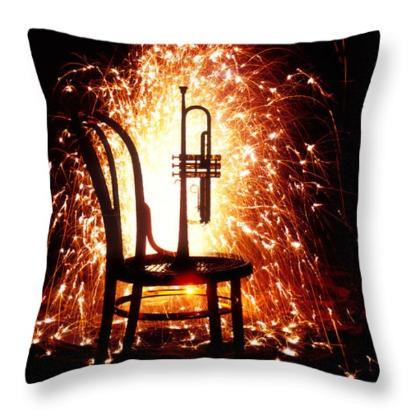Chair And Horn With Fireworks Throw Pillow by Garry Gay