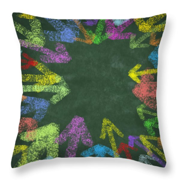 chalk drawing colorful arrows Throw Pillow by Setsiri Silapasuwanchai