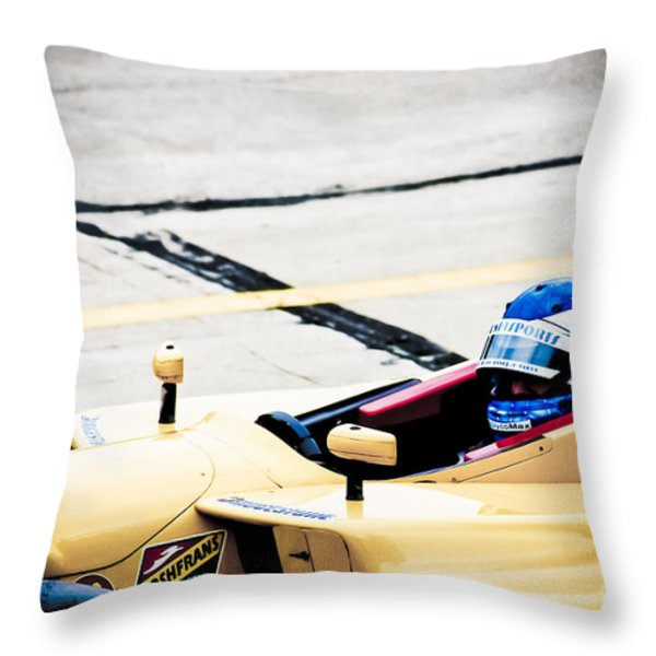 Champ Car Driver Throw Pillow by Darcy Michaelchuk