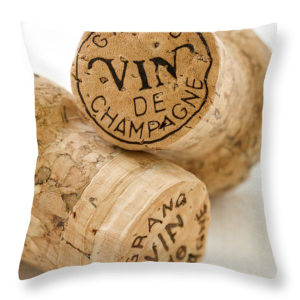 Champagne corks Throw Pillow by Frank Tschakert