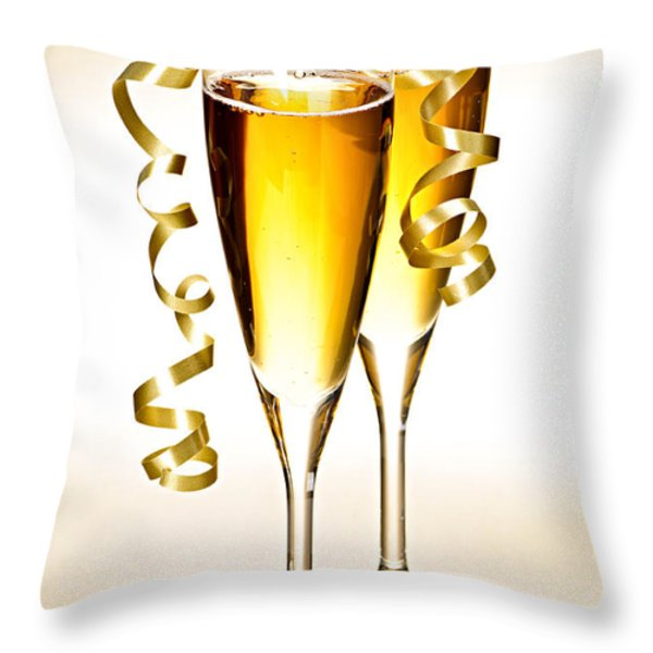 Champagne glasses Throw Pillow by Elena Elisseeva