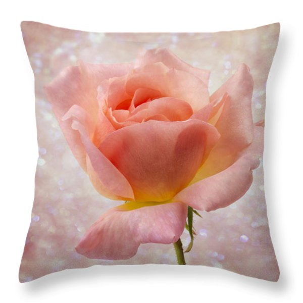 Champagne Rose. Throw Pillow by Clare Bambers