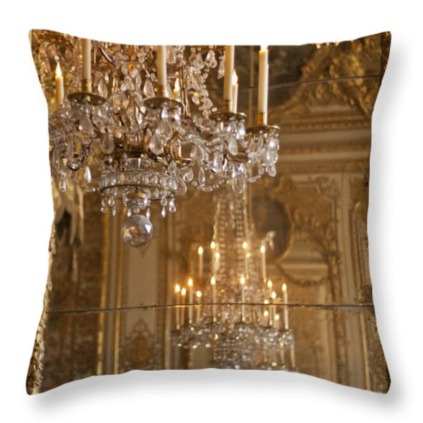 Chandelier at Versailles Throw Pillow by Nomad Art And  Design
