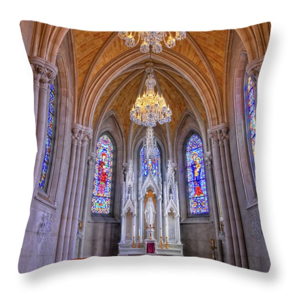 Chapel At Sacred Heart Cathedral Throw Pillow by Dave Mills