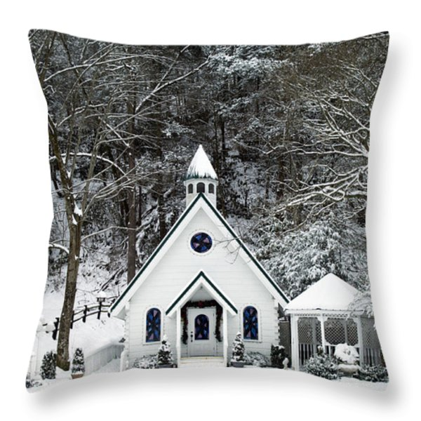 Chapel In The Snow - D007592 Throw Pillow by Daniel Dempster