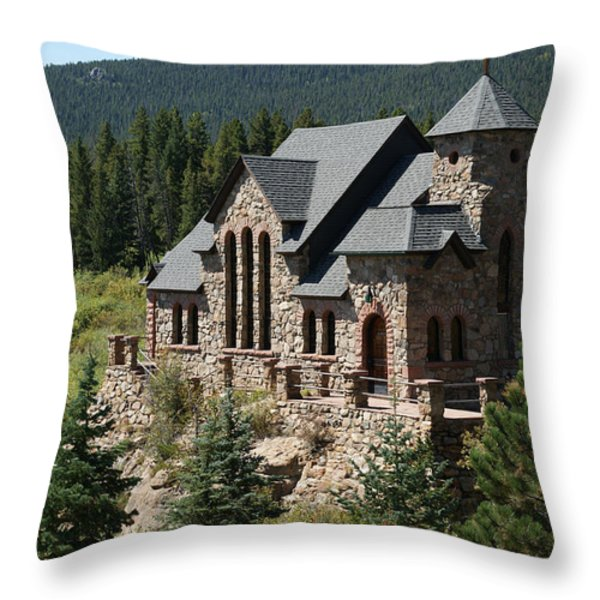 Chapel on the Rock Throw Pillow by Ernie Echols