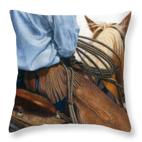 Chaps Throw Pillow by Pat Erickson