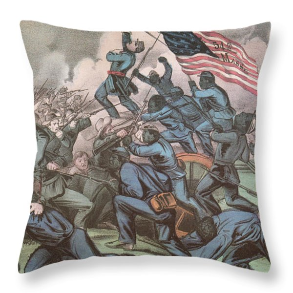 Charge Of The 54th Massachusetts Throw Pillow by Photo Researchers