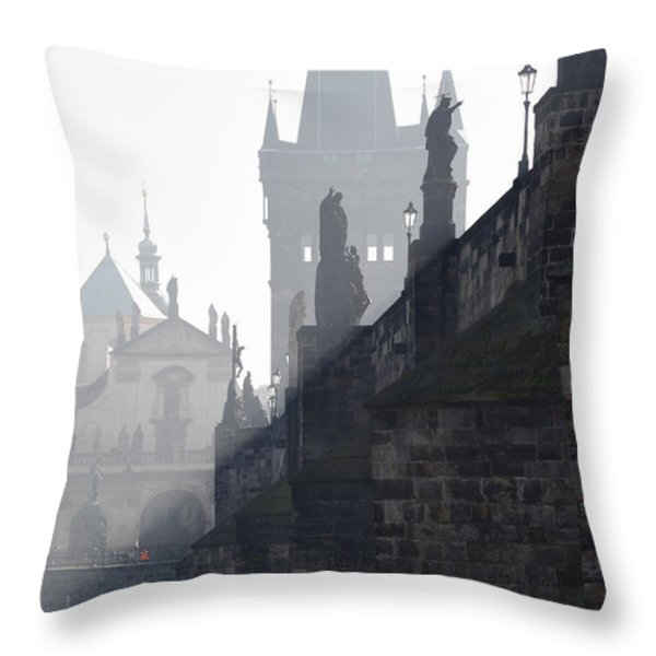Charles bridge in the early morning fog Throw Pillow by Michal Boubin