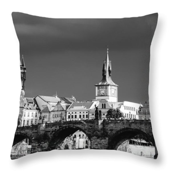 Charles Bridge Prague Czech Republic Throw Pillow by Matthias Hauser