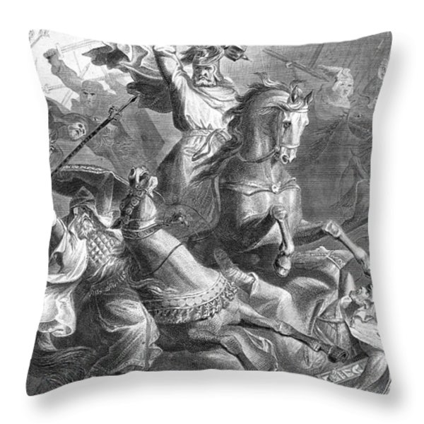 Charles Martel, Battle Of Tours, 732 Throw Pillow by Photo Researchers