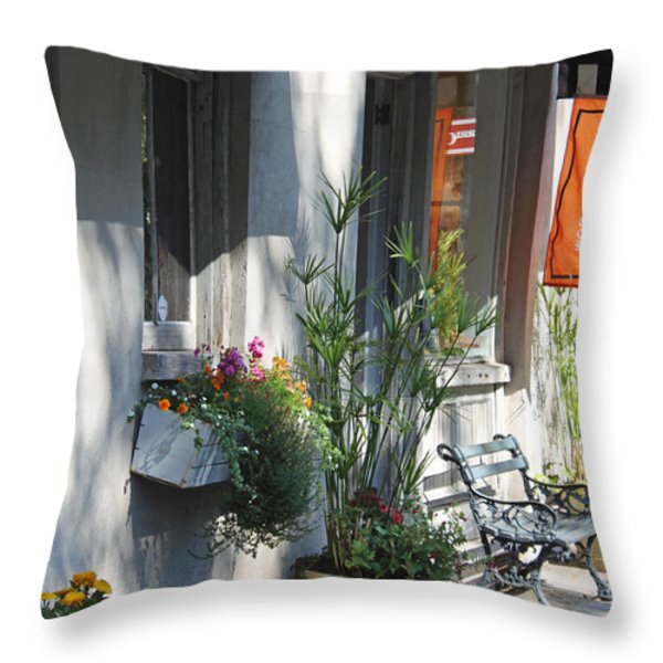 Charleston Shop - French Quarter Throw Pillow by Suzanne Gaff