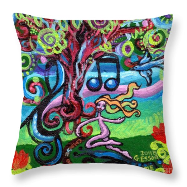 Chase Of The Faerie Note Bubble Throw Pillow by Genevieve Esson