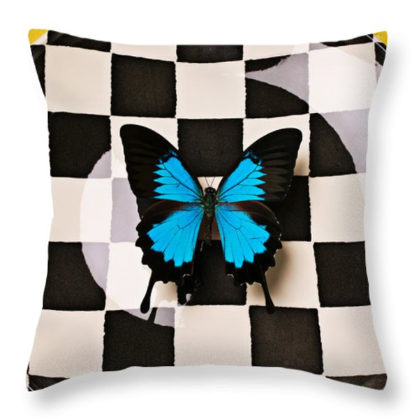 Checker plate and blue butterfly Throw Pillow by Garry Gay
