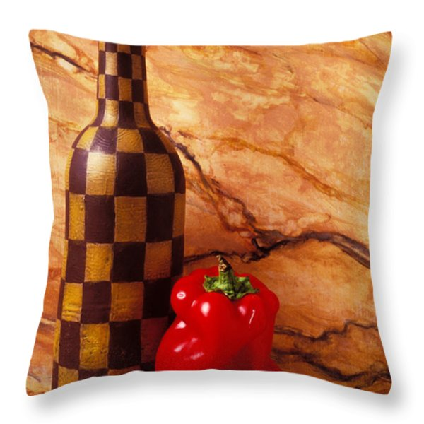 Checker wine bottle and red pepper Throw Pillow by Garry Gay