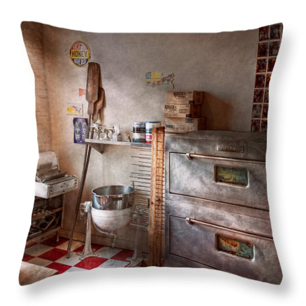 Chef - Baker - The Bread Oven Throw Pillow by Mike Savad