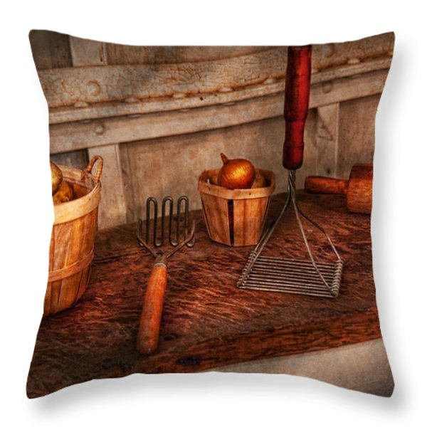 Chef - Food - Equipment For Making Latkes Throw Pillow by Mike Savad