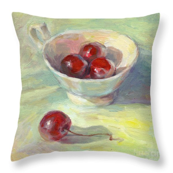 Cherries In A Cup On A Sunny Day Painting Throw Pillow by Svetlana Novikova