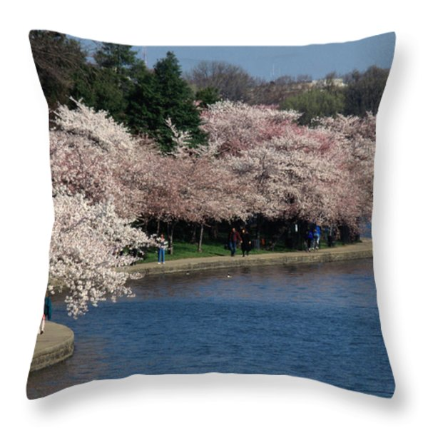 Cherry Blossom Festival, Jefferson Throw Pillow by Richard Nowitz