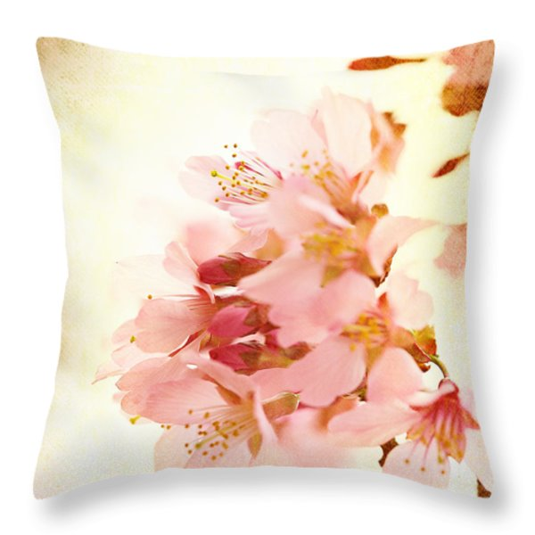 Cherry Blossom Throw Pillow by Kim Fearheiley
