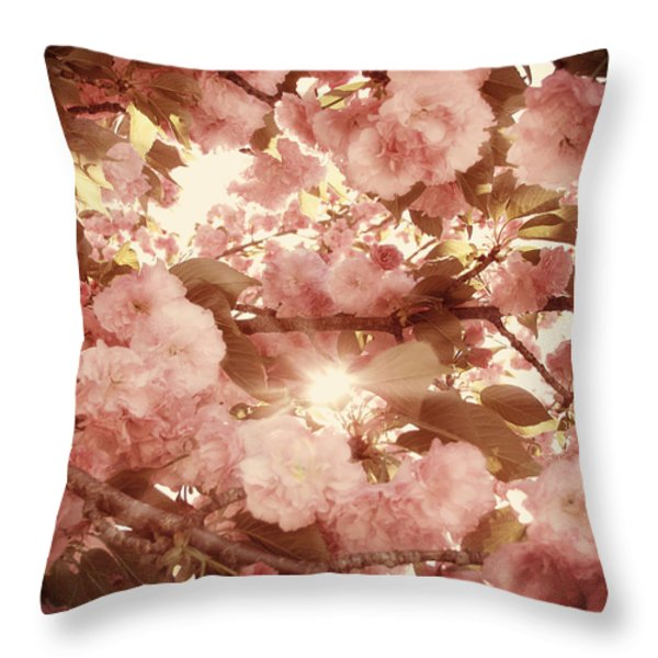 Cherry Blossom Sky Throw Pillow by Amy Tyler