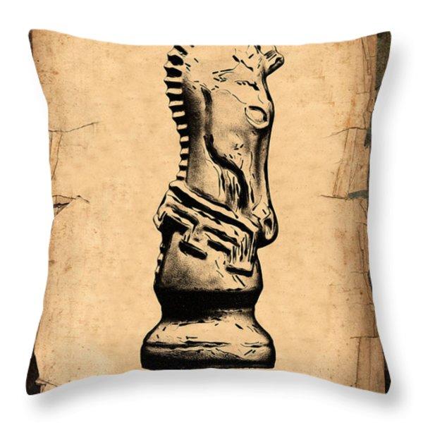 Chess Knight Throw Pillow by Tom Mc Nemar