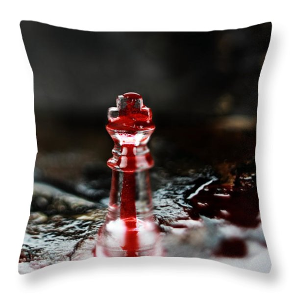 Chess Piece In Blood Throw Pillow by Stephanie Frey
