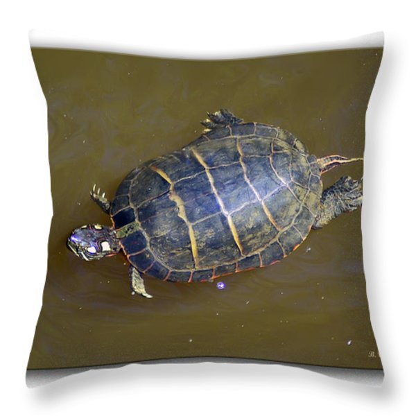 Chester River Turtle Throw Pillow by Brian Wallace