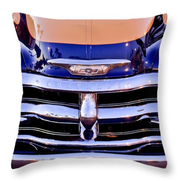 Chevrolet Pickup Truck Grille Emblem Throw Pillow by Jill Reger
