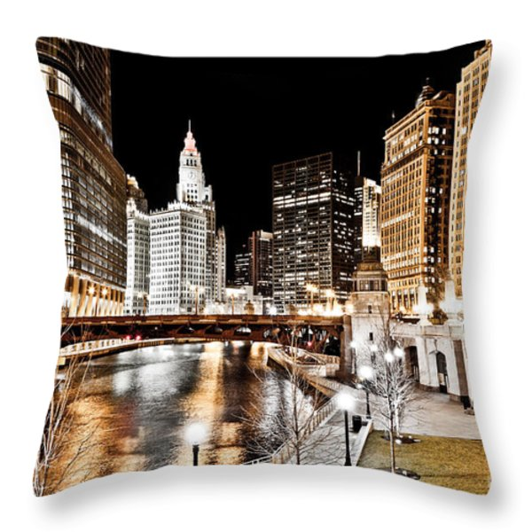 Chicago at Night at Wabash Avenue Bridge Throw Pillow by Paul Velgos