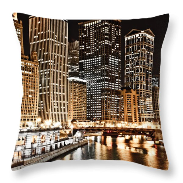 Chicago City Skyline At Night Throw Pillow by Paul Velgos
