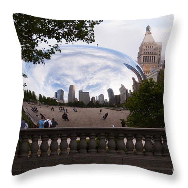 Chicago Cloud Gate Bean Sculpture Throw Pillow by Paul Velgos
