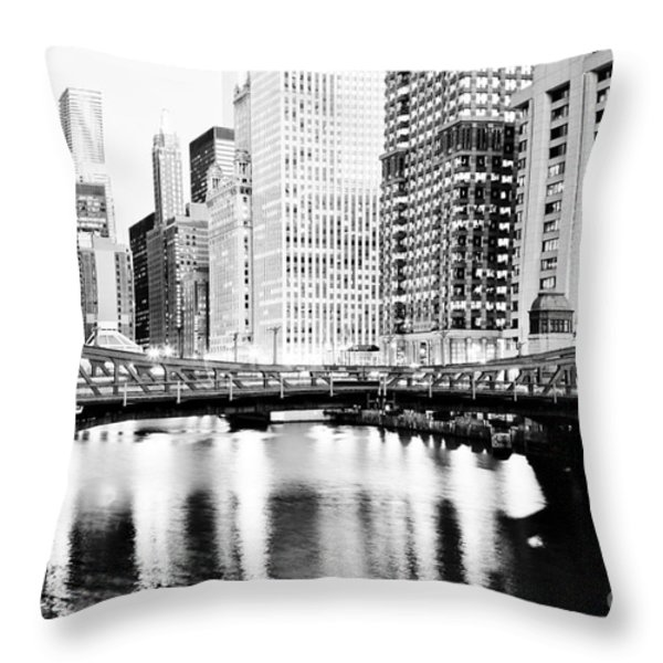 Chicago Downtown At Clark Street Bridge Throw Pillow by Paul Velgos
