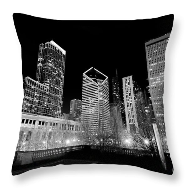 Chicago Downtown at Night  Throw Pillow by Paul Velgos